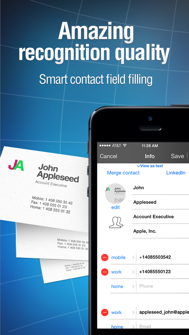 Business card reader iphone english evernote app center screenshots reheart Choice Image