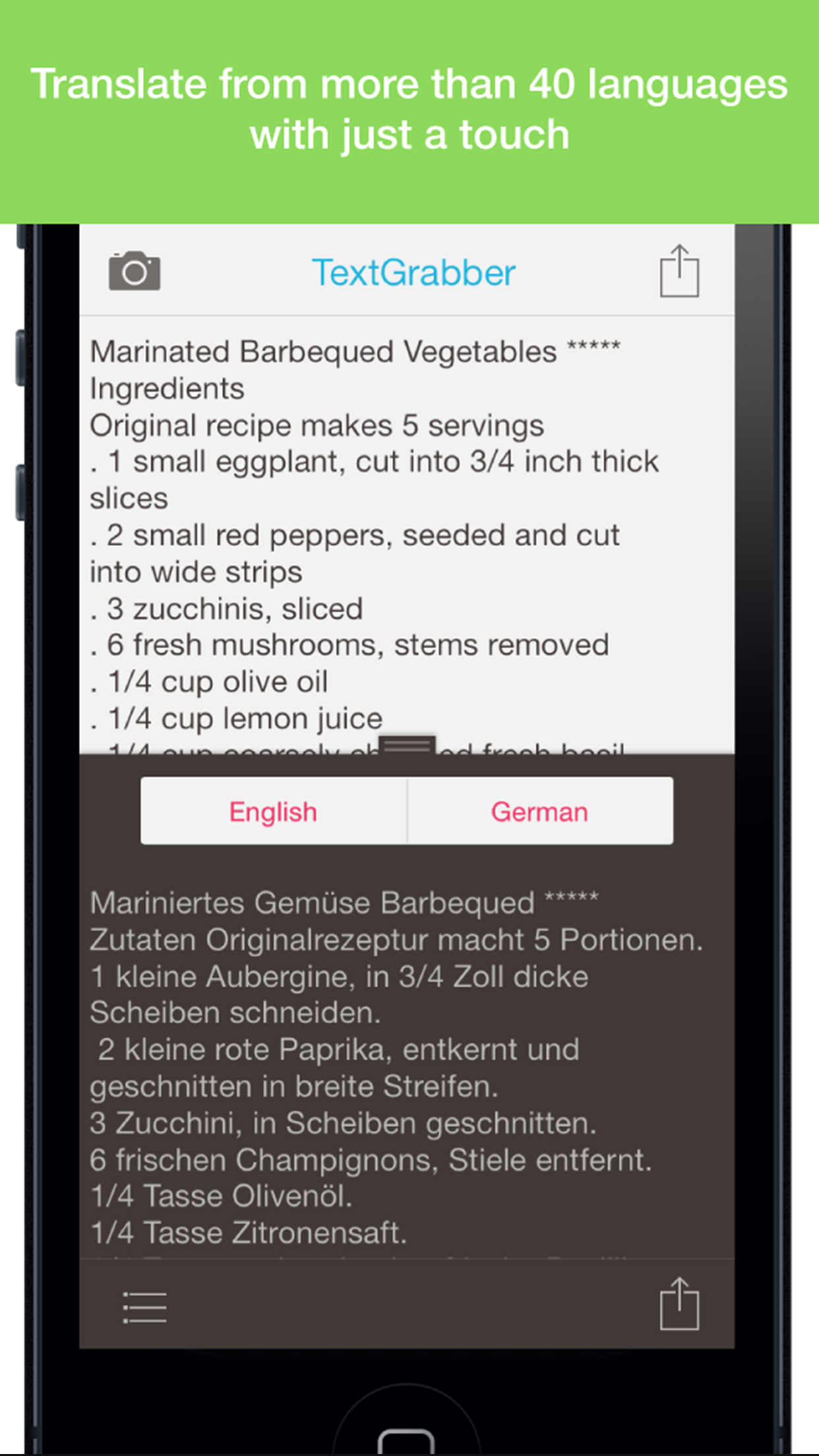 ABBYY TextGrabber + Translator - iPhone - English ...