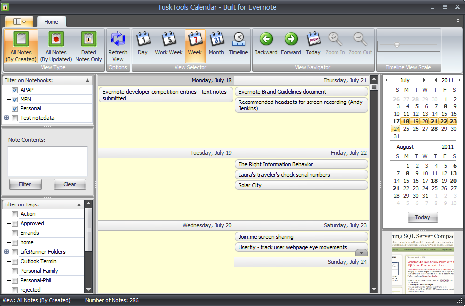 tusktools calendar - windows - english